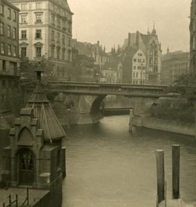 Germany Hamburg Schleusen Bridge Old NPG Stereoview Photo 1900