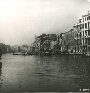 Italy Venice Canale Grande Palace Old Stereoview Photo NPG 1900