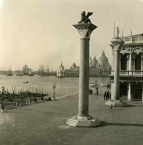 Italy Venice San Marco Column Old Stereoview Photo NPG 1900