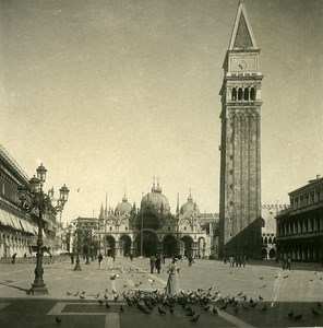 Italy Venice San Marco Place Old Stereoview Photo NPG 1900
