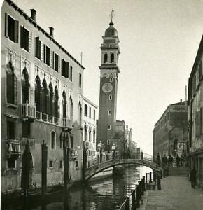 Italy Venice Bell Tower S Giorgio del Greci Old Stereoview Photo NPG 1900