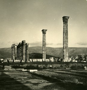 Greece Athens Temple of Olympian Zeus Old Stereoview Photo NPG 1900