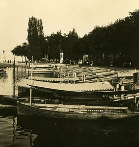France Evian Harbour Boats Old Stereoview Photo NPG 1900