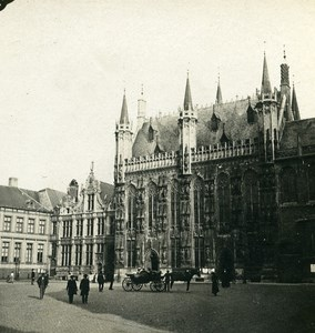 Belgium Bruges Place of Burg Old Stereoview Photo Possemiers 1900