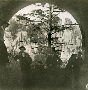 Germany Sächsische Schweiz Bastei Bridge old Stereoview Photo 1900