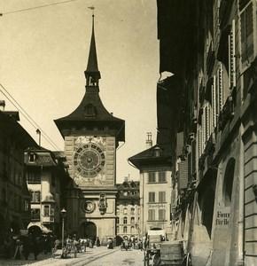 Switzerland Bern Clock Tower old Stereoview Photo NPG 1900