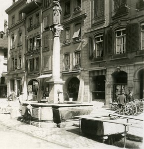 Switzerland Bern Gold Fountain old Stereoview Photo NPG 1900