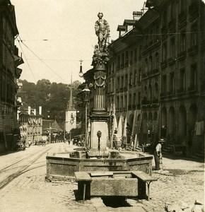 Switzerland Bern Fountain old Stereoview Photo NPG 1900