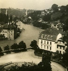 Switzerland Bern Panorama old Stereoview Photo NPG 1900