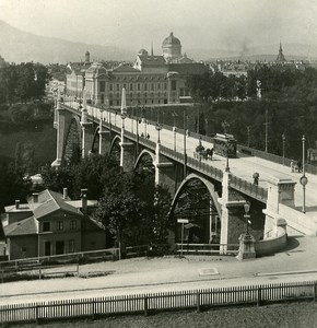Switzerland Bern Kornhaus Bridge Panorama old Stereoview Photo NPG 1900