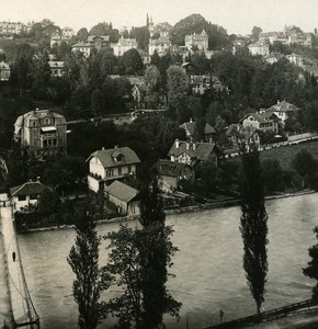 Switzerland Bern view of Altenberg old Stereoview Photo NPG 1900