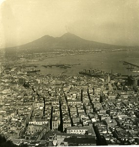Italy Naples Panorama old Stereoview Photo NPG 1900
