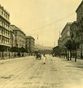 Italy Naples Viale Elena old Stereoview Photo NPG 1900