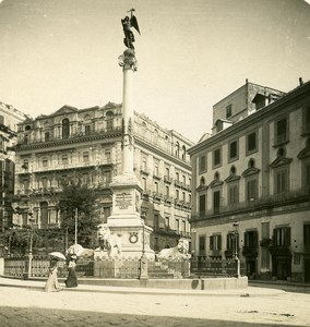 Italy Naples Martyrs Square old Stereoview Photo NPG 1900