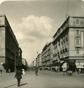 Italy Naples Corse Re Umberto old Stereoview Photo NPG 1900