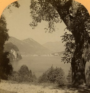 Switzerland Alps Blick vom Rütli Vierwaldstättersee Gabler Stereo Photo 1885