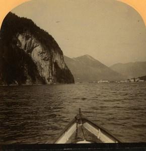 Switzerland Alps Vierwaldstättersee Lake Lucerne old Gabler Stereo Photo 1885