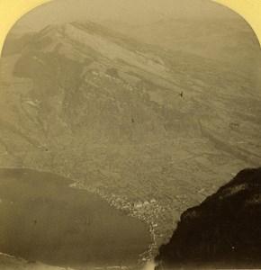 Switzerland Alps Rigi Kulm Blick Panorama old Gabler Stereo Photo 1885