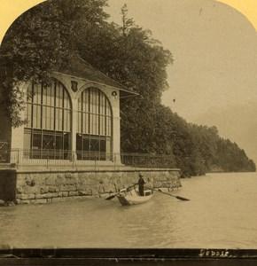 Switzerland Alps Tell Chapel Tellskapelle Fluelen old Gabler Stereo Photo 1885