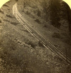 Switzerland Alps Burgenstock Railway old Gabler Stereo Photo 1885