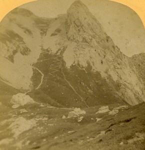 Switzerland Alps Esel & Pilatus Railway old Gabler Stereo Photo 1885