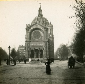 France Paris Saint Augustin Place Instantaneous old Stereo SIP Photo 1900