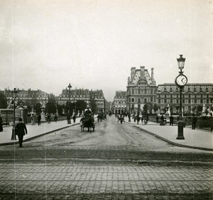 France Paris Tuileries Bridge Instantaneous old Stereo SIP Photo 1900
