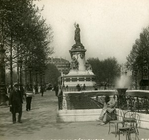 France Paris Republic Place Instantaneous old Stereo SIP Photo 1900