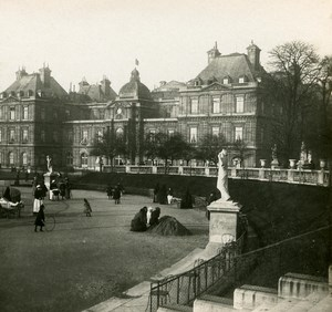 France Paris Luxembourg garden Instantaneous old Stereo SIP Photo 1900