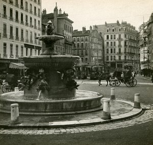 France Grenoble Place Grenette Instantaneous old Stereo SIP Photo 1900