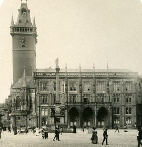 Austria-Hungary Prague City Hall Place old NPG Stereo Photo 1900