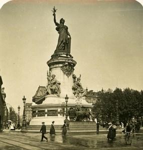France Paris Snapshot Place de la Republique old NPG Stereo Photo 1900