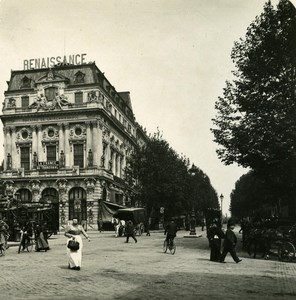 France Paris Snapshot Boulevard St Martin old NPG Stereo Photo 1900