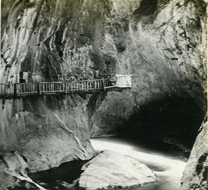 Switzerland Alps Trient Gorge old Possemiers Stereo Photo 1910