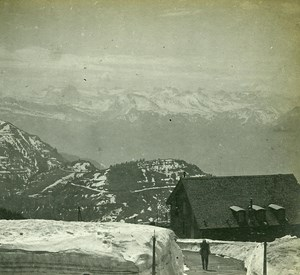 Switzerland Alps Rigi Summit in Spring old Possemiers Stereo Photo 1910