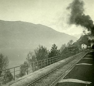 Switzerland Alps Magadino Train old Possemiers Stereo Photo 1910