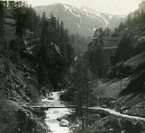 Switzerland Alps Zmuttbach Bridge old Possemiers Stereo Photo 1910