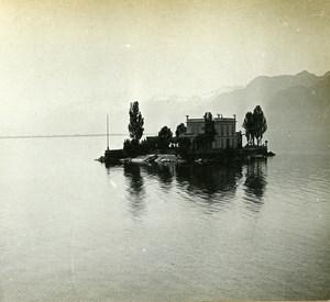 Switzerland Alps Lake Leman Mouettes Isle old Possemiers Stereo Photo 1910