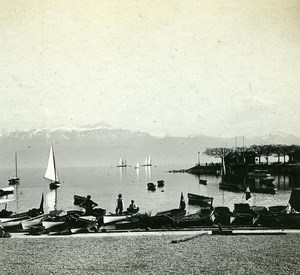 Switzerland Alps Lake Leman Ouchy Harbour old Possemiers Stereo Photo 1910