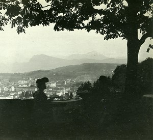 Switzerland Alps Lucerne Panorama old Possemiers Stereo Photo 1910