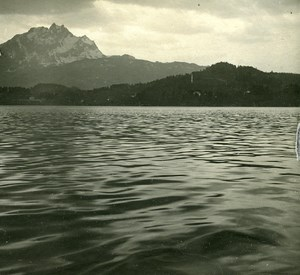 Switzerland Alps Lake Lucerne Pilatus old Possemiers Stereo Photo 1910