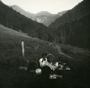 Pyrenees Luchon Val & Pike of la Frêche old Possemiers Stereo Photo 1920