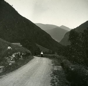 France Pyrenees Luchon Vallée du Lys old Possemiers Stereo Photo 1920