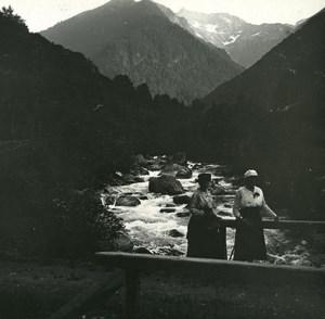 France Pyrenees Luchon La Pique au pont du Roi Possemiers Stereo Photo 1920