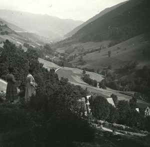 France Pyrenees Luchon Bourg d' Oueil old Possemiers Stereo Photo 1920