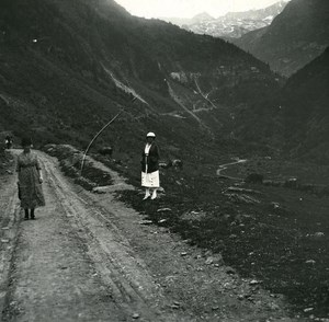 France Pyrenees Luchon Lake Oo old Possemiers Stereo Photo 1920