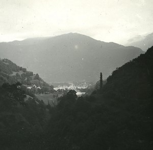 France Pyrenees Luchon Panorama old Possemiers Stereo Photo 1920