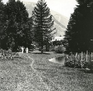 France Pyrenees Luchon Casino garden old Possemiers Stereo Photo 1920