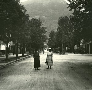 France Pyrenees Luchon Allées d'Etigny old Possemiers Stereo Photo 1920
