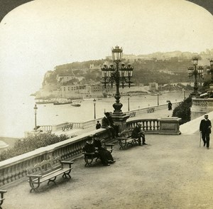 France Monte Carlo Monaco Panorama old Rick Stereo Photo ca 1900